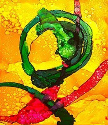 Picture of a Bright & Whimsical Alcohol Ink painting