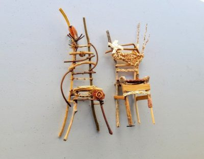 Photo of tiny wooden crafted chairs for the class by East End Art - Twig Fairy Chairs, Instructor - Ruth Ipsan-Brown