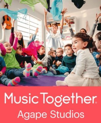 toddlers laughing followed by logo for Music Together & Agape Studios