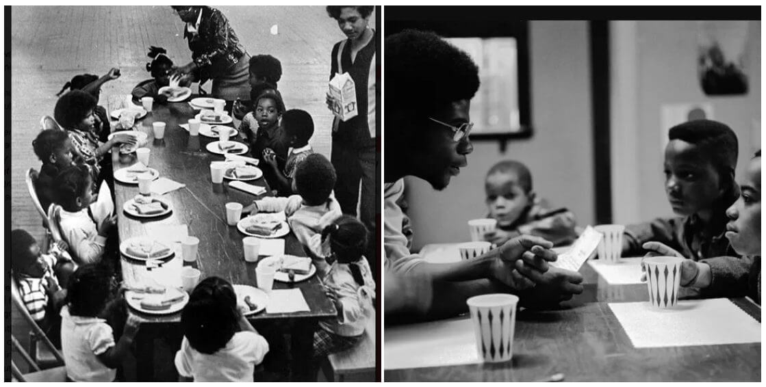 two photos of Black Panther free breakfast program activities